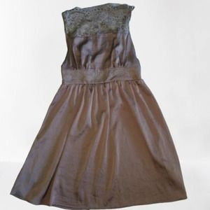 FREE PEOPLE Gray Lace Top Fit and Flare Dress XS